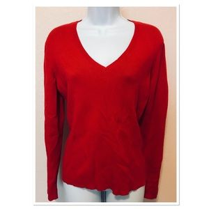 Chico's Red V-Neck Sweater Size 1
